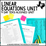8th Grade Linear Equations Unit: TEKS 8.8A, 8.8B, 8.8C