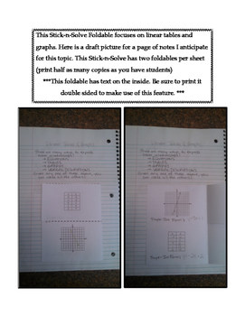 8th Grade Linear Tables and Graphs Lesson: FOLDABLE & Homework