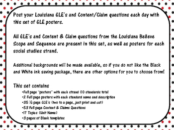8th Grade Louisiana GLE Posters for Social Studies Black and Red Polka Dot