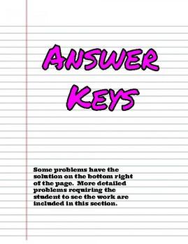 8th Grade: Low Key Math Answer Keys