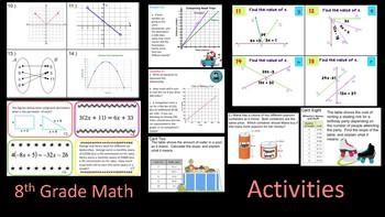 8th Grade Math Activity Bundle  ~ 10 Great Review Activities