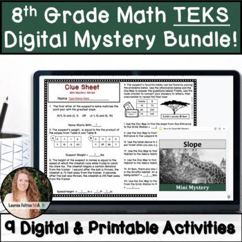 8th Grade Math Activity Bundle! TEKS Aligned!