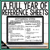 8th Grade Math Reference Sheets Full Year Bundle   Distance Learning   Digital