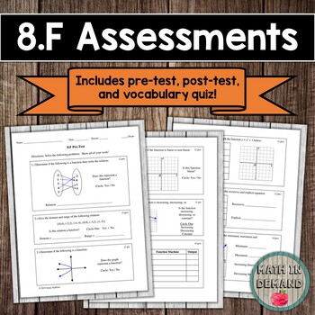 8th Grade Math Function Assessments (Common Core Aligned 8.F)