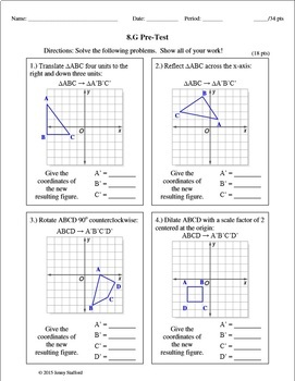 8th Grade Math Assessments EDITABLE (Entire Year) DISTANCE LEARNING