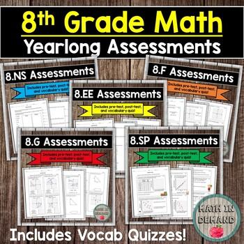 8th Grade Math Assessments EDITABLE