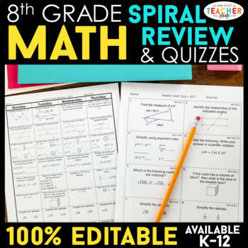 8th Grade Math BUNDLE | Spiral Review, Games & Assessments for the ENTIRE YEAR