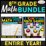 8th Grade Math BUNDLE | Spiral Review, Games & Quizzes for