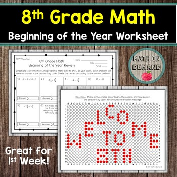 8th Grade Math Beginning of the Year Review Worksheet
