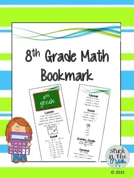 8th Grade Math Bookmark