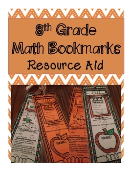 8th Grade Math Bookmark - Resource and Fact Aid