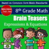 8th Grade Math Brain Teasers - Expressions and Equations