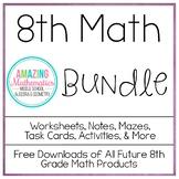 8th Grade Math Bundle ~ All My 8th Grade Math Products at