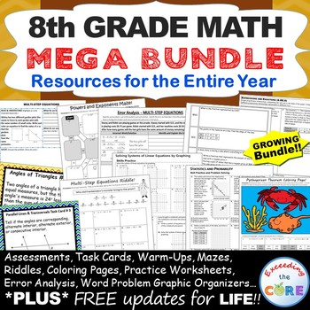 8th Grade Math COMMON CORE Assessments, Warm-Ups, Task Cards, Error Analysis