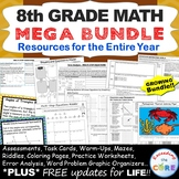 8th Grade Math COMMON CORE Assessments, Warm-Ups, Task Cards, Worksheets Bundle