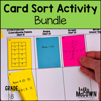 8th Grade Math Card Sort Activity Lessons and Cut & Paste Activities BUNDLE