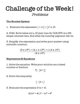 8th Grade Math Challenge of the Week Problems