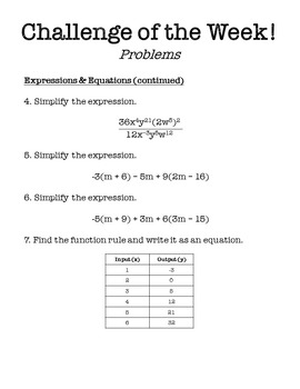 8th Grade Math Challenge of the Week Problems by Middle School Math Man