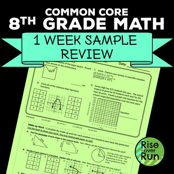 8th Grade Math Review Common Core: 1 Week of Practice