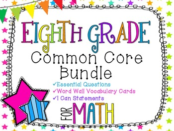8th Grade Math Common Core Bundle! Everything You Need! *Neon Stars*