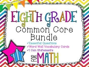 8th Grade Math Common Core Bundle! Everything You Need! *Rainbow Chevron*