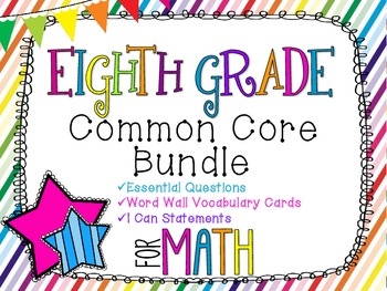 8th Grade Math Common Core Bundle! Everything You Need! *Rainbow Stripes*
