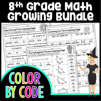 8th GRADE MATH COMMON CORE COLOR BY NUMBER, QUIZZES - GROWING BUNDLE!