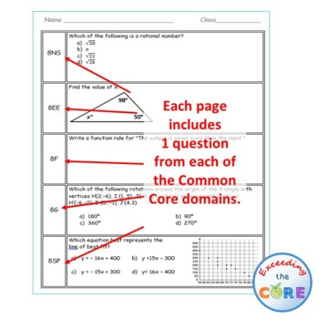 8th Grade Daily / Weekly Spiral Math Review {Common Core} - 100% Editable