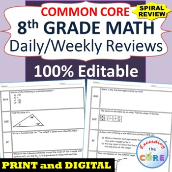 8th Grade Daily / Weekly Spiral Math Review Common Core - Editable