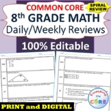 ⭐8th Grade SPIRAL MATH REVIEW Common Core | Distance Learning | Google Classroom