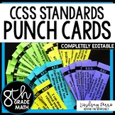 8th Grade Math Common Core I Can Statement Punch Cards
