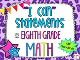 8th Grade Math Common Core *I Can Statements* Cheetah Print