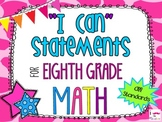 8th Grade Math Common Core *I Can Statements* Giraffe Print