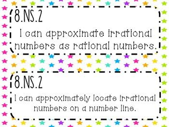 8th Grade Math Common Core *I Can Statements* Neon Stars