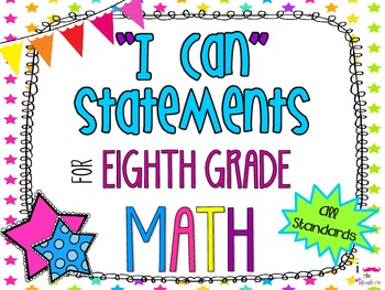 8th Grade Math Common Core *I Can Statements* Neon Stars