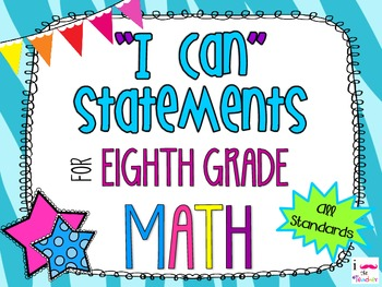 8th Grade Math Common Core *I Can Statements* Zebra Print