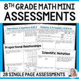 8th Grade Math Common Core Mini Assessments
