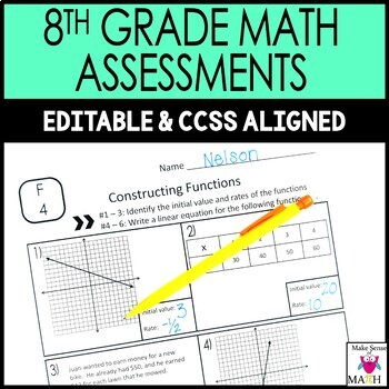 8th Grade Math Assessments Common Core Bundle