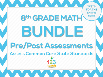 8th Grade Math Common Core Pre and Post-Test Assessments BUNDLE!