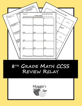 8th Grade Math Common Core State Standards Review Relay (Game)