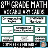 8th Grade Math Vocabulary Cards