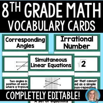 8th Grade Math Vocabulary Cards
