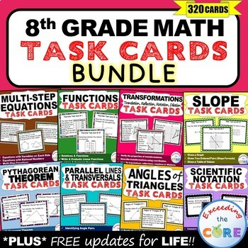 8th Grade Math Common Core WORD PROBLEM TASK CARDS { BUNDLE - 280+ Cards}