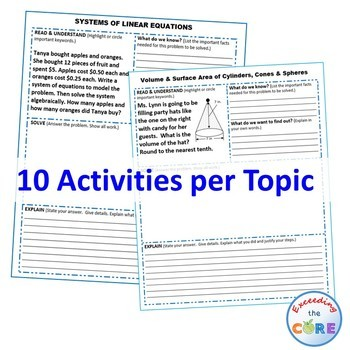 8th Grade Math Common Core WORD PROBLEMS with Graphic Organizer { BUNDLE }