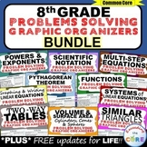 End of Year 8th Grade Math WORD PROBLEMS Graphic Organizer Common Core BUNDLE
