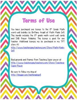 8th Grade Math Common Core Word Wall Bundle (Bright Chevron and Dots)