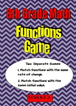 8th Grade Math Compare Functions - Two Matching Games - CC