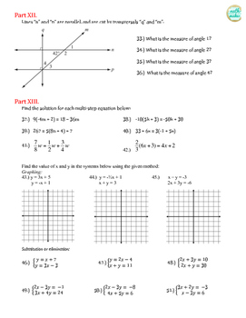 8th Grade Math Comprehensive Review ~ Open Ended Questions