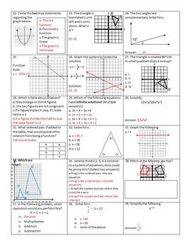 8th Grade Math Cumulative Final: 4 Versions with 39 Rigorous Questions