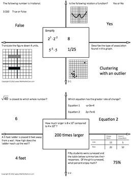 8th Grade Math Daily Warm Ups - w/ Key - Set 2